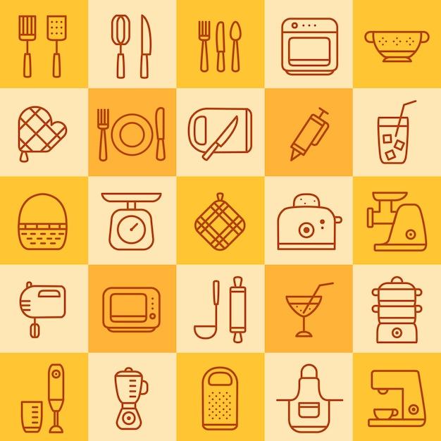 調理器具のさまざまな種類のアイコンのセット Premiumベクター