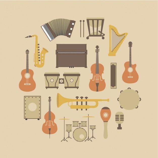 楽器コレクション 無料ベクター