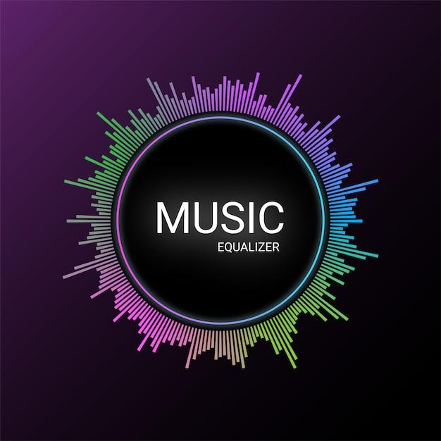 Музыкальный эквалайзер на фиолетовом градиенте Premium векторы