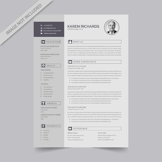 編集可能な履歴書形式のダウンロード Premiumベクター