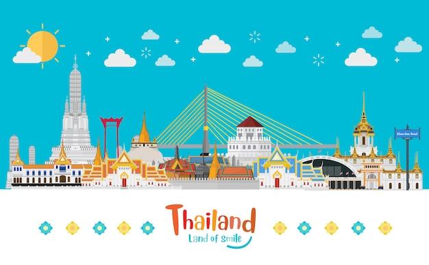 タイ旅行コンセプトフラットスタイルのタイで訪問するゴールデンパレス Premiumベクター