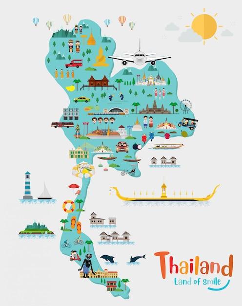 Путешествие в таиланд и карту таиланда, достопримечательности и туристические места, храм Premium векторы