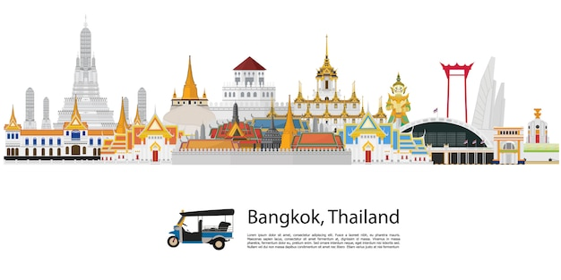 Бангкок в таиланде и достопримечательности и туристические места Premium векторы