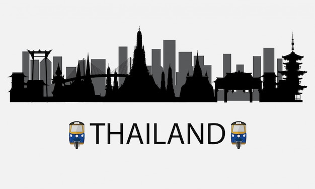 Силуэт бангкока в таиланде и достопримечательности и туристические места Premium векторы