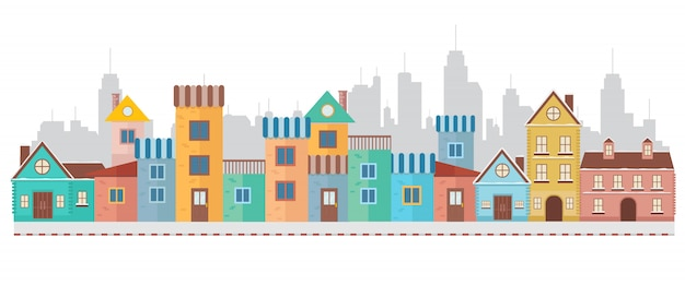 市内のモダンなカラフルな家の村 Premiumベクター