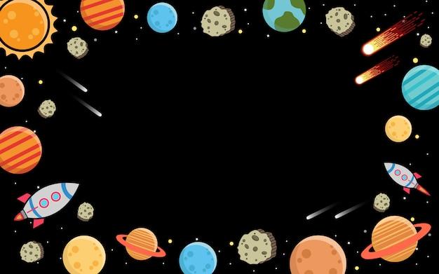 銀河と暗闇の中の惑星 Premiumベクター
