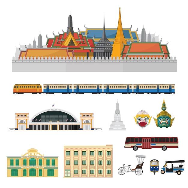 タイのベクトルを設定、タイのランドマーク。 Premiumベクター