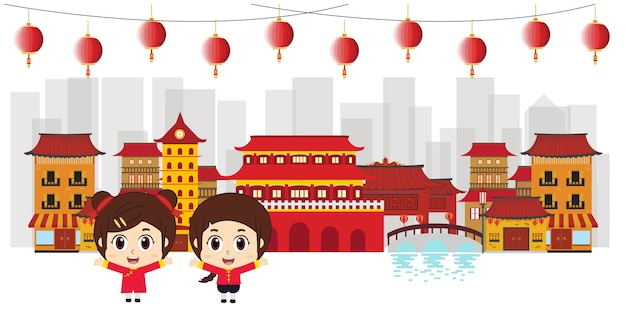 Китайские дети едут в китайский город Premium векторы