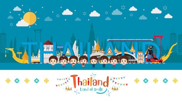 Дети играют в путешествие по таиланду Premium векторы