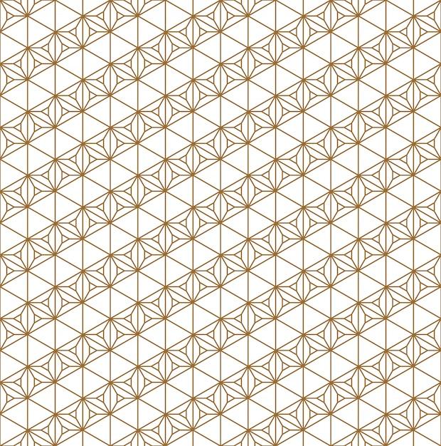 Бесшовный узор традиционный японский геометрический орнамент. золотые цветные линии. Premium векторы