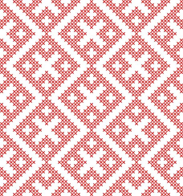 伝統的なロシアの民族のシームレスな飾りは、クロスステッチを刺繍しました。 Premiumベクター