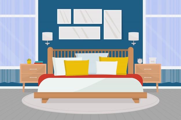 Уютный интерьер спальни с мебелью. двуспальная кровать, тумбочки, большие окна. Premium векторы