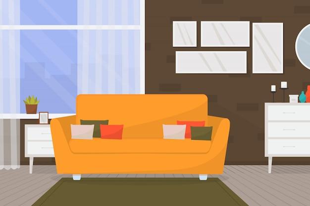 家具と大きな窓と居心地の良いリビングルームのインテリア。ホーム。モダンなアパートメント。 Premiumベクター