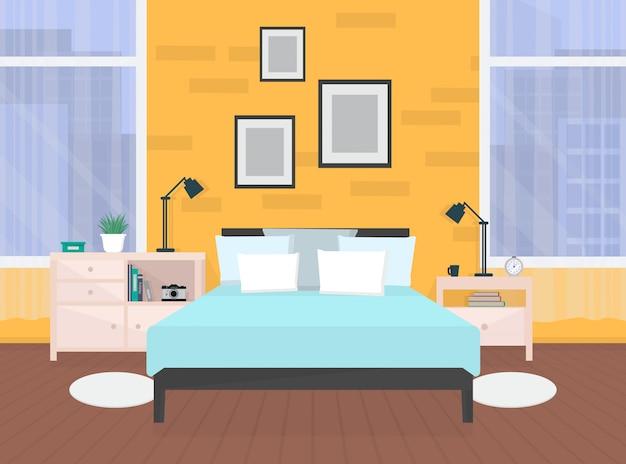 Современный оранжевый интерьер спальни с мебелью и окнами Premium векторы