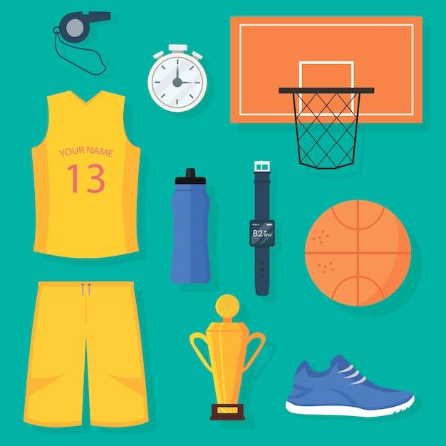 バスケットボールアイテムのセット:制服、ボール、バスケット、ゴールデントロフィー、タイマー、パルスモニター付きデジタル腕時計、ボトル入り飲料水、スポーツシューズ、ホイッスル Premiumベクター
