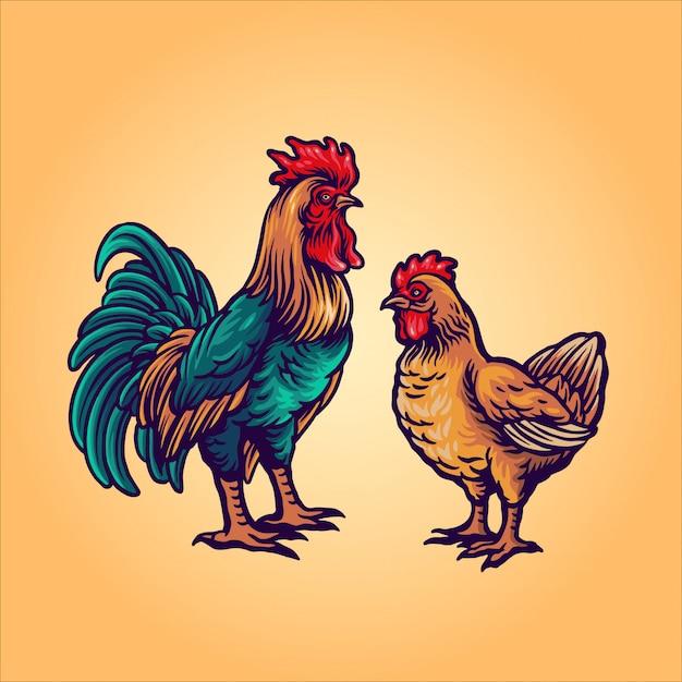Мультфильм петух и курица Premium векторы