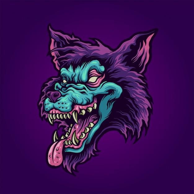 Голова зомби волка Premium векторы