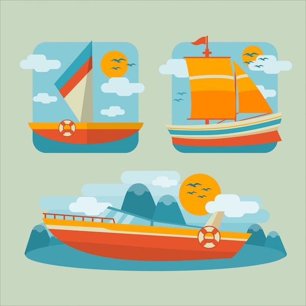 ボートフラット図 Premiumベクター