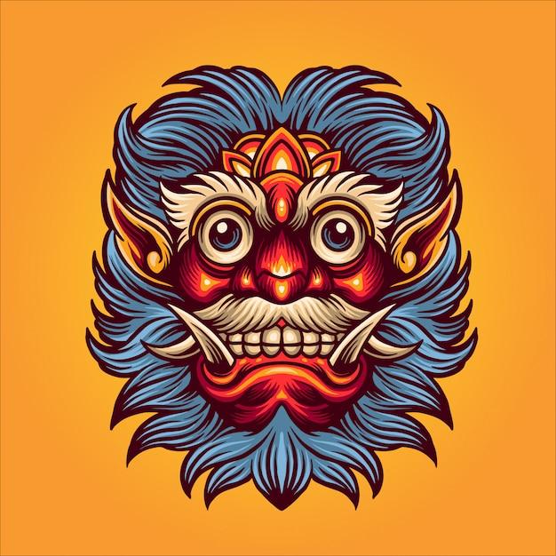 Иллюстрация маски сатаны Premium векторы