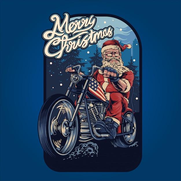 Дед мороз на мотоцикле Premium векторы