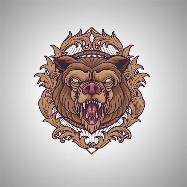 Медведь орнамент Premium векторы