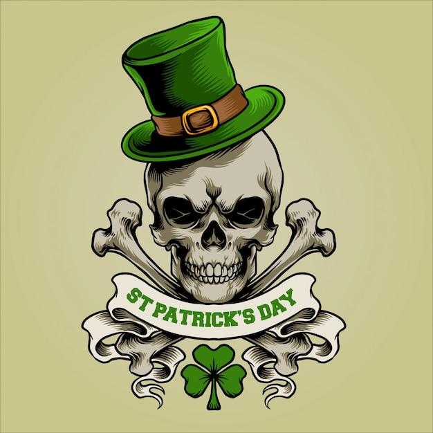 Символ черепа для дня святого патрика Premium векторы
