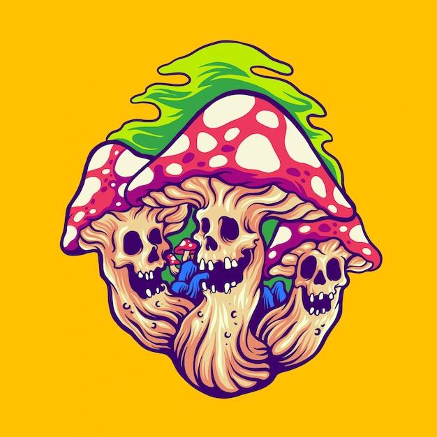 Страшный волшебный гриб Premium векторы