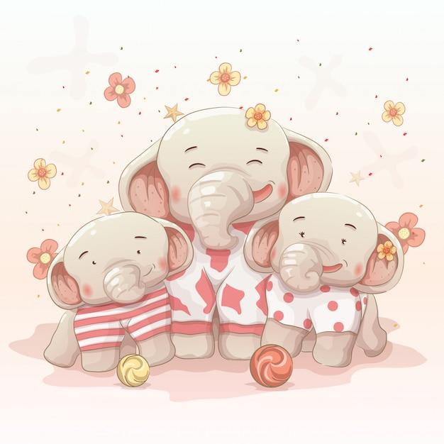 かわいい幸せな象の家族が一緒にクリスマスと新年を祝う Premiumベクター