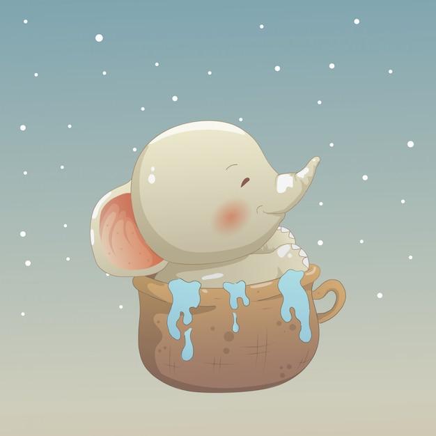 カップの象の赤ちゃん Premiumベクター