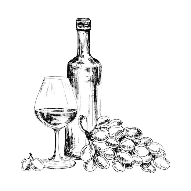 ワインとブドウの房 Premiumベクター