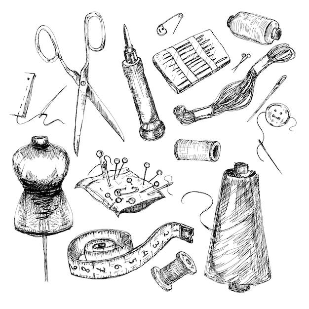 非常に詳細な手描き縫製および編み物ツールのコレクション。 Premiumベクター