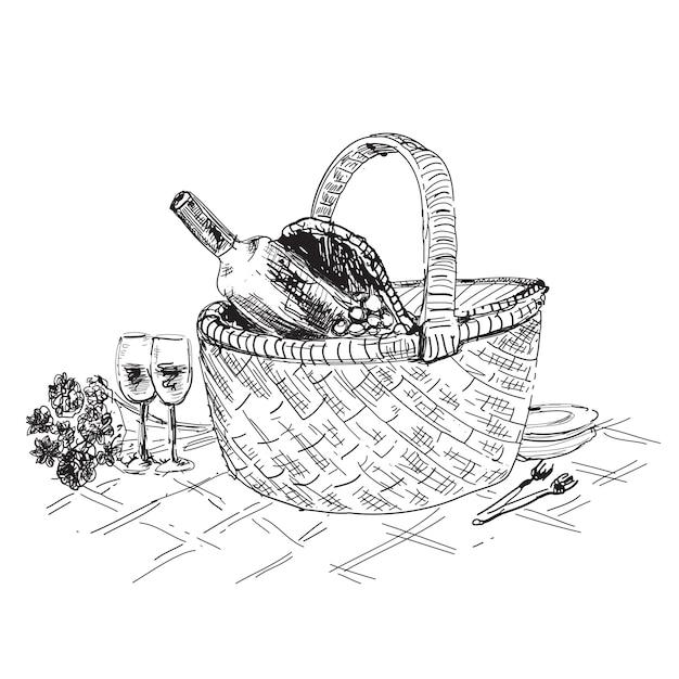 Корзина для пикника с рисунком вина и бокалов Premium векторы