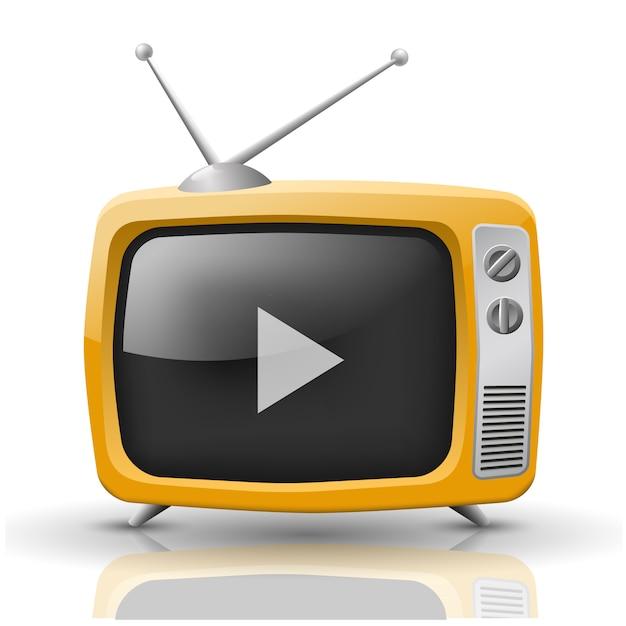 Векторная иллюстрация оранжевого телевизора изолированы Premium векторы
