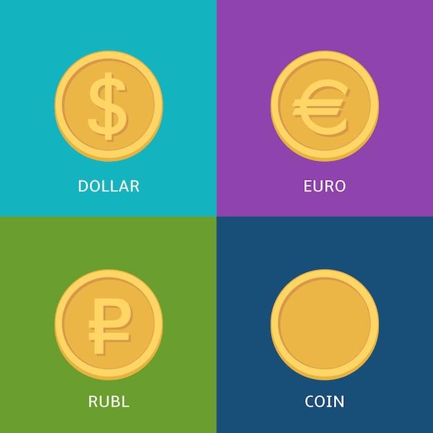 Векторный набор плоских монет на красочном баннере Premium векторы