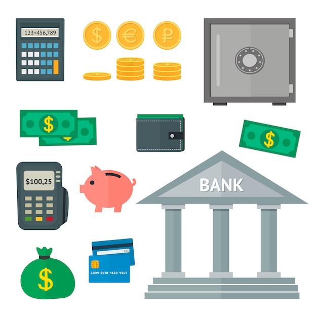 平らな財政のアイコンのベクトルを設定 Premiumベクター
