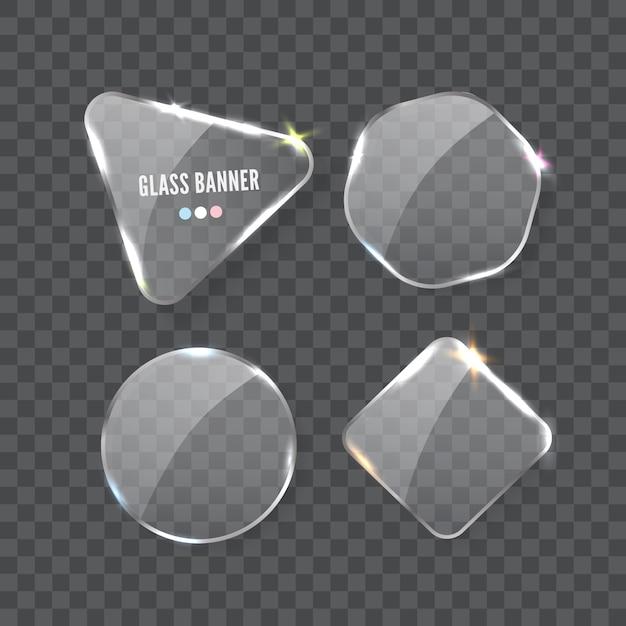 Стеклянный баннер, реалистичные векторные иллюстрации Premium векторы