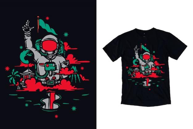 Иллюстрация астронавта для дизайна футболки Premium векторы
