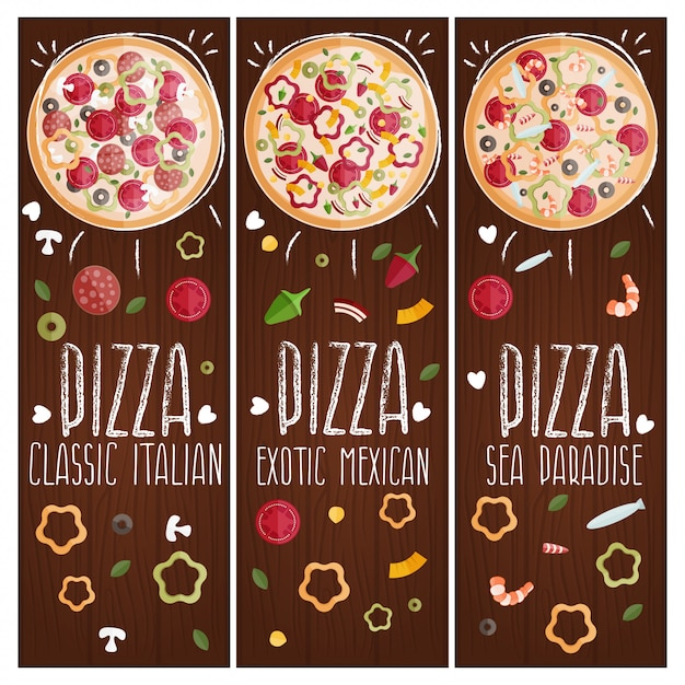 さまざまな趣味のテーマピザのバナーの設定 Premiumベクター