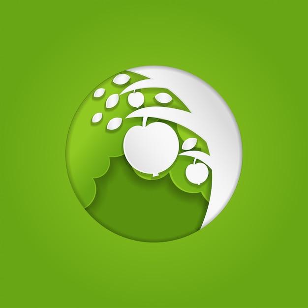 紙アートアップルのロゴのための木のコンセプト Premiumベクター