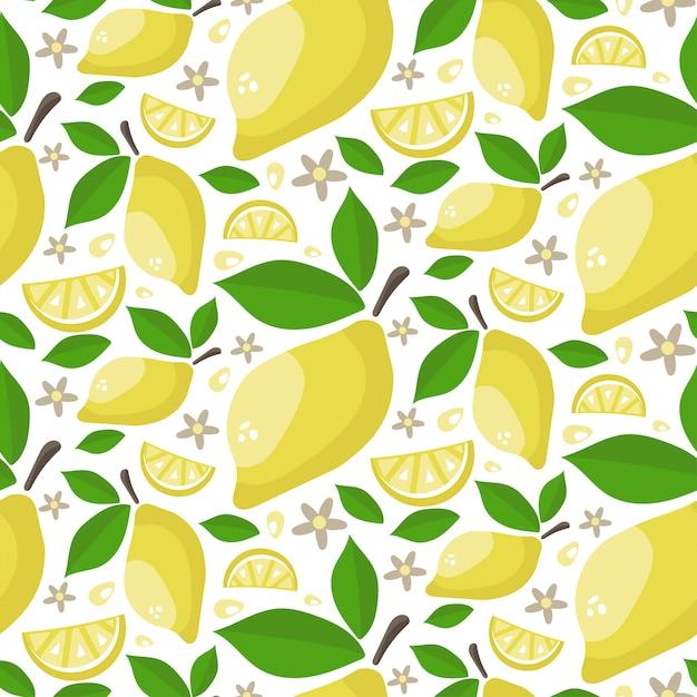 葉と花を持つ熟したジューシーレモンのシームレスパターン。 Premiumベクター