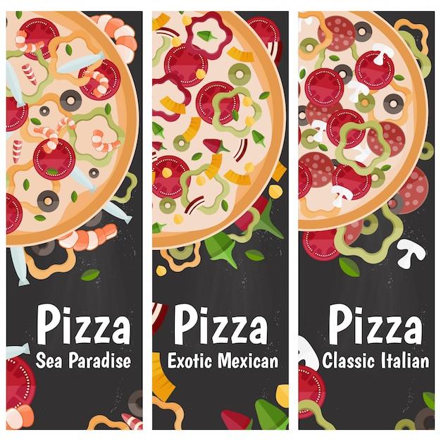 Набор вертикальных баннеров для темы пиццы с различными вкусами плоский дизайн на доске. Premium векторы