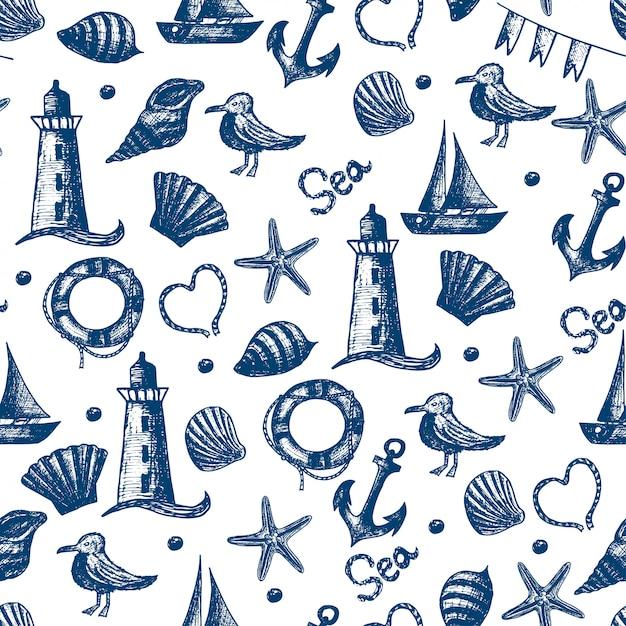 Бесшовные рисованной морской тематические объекты. Premium векторы