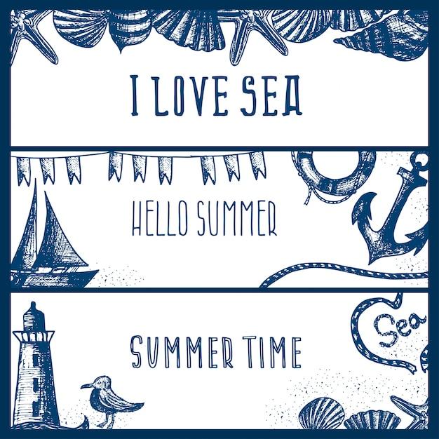 Набор рисованной морской тематические баннеры. Premium векторы
