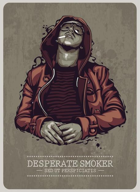 喫煙者ポスターデザイン 無料ベクター