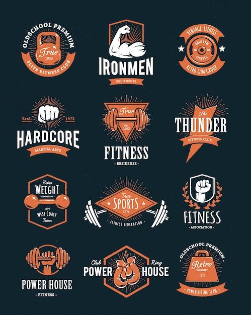 Коллекция спортивных логотипов Бесплатные векторы