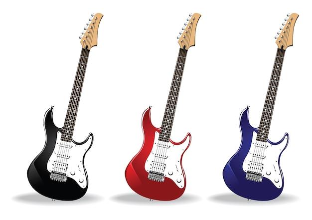 Коллекция рок-гитары Бесплатные векторы