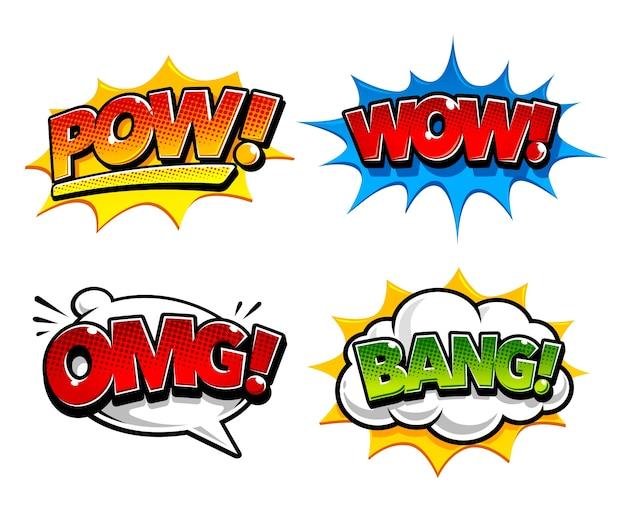 Коллекция красочных комиксов Бесплатные векторы