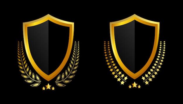 Печать золотых значков и этикеток премиум качества Premium векторы