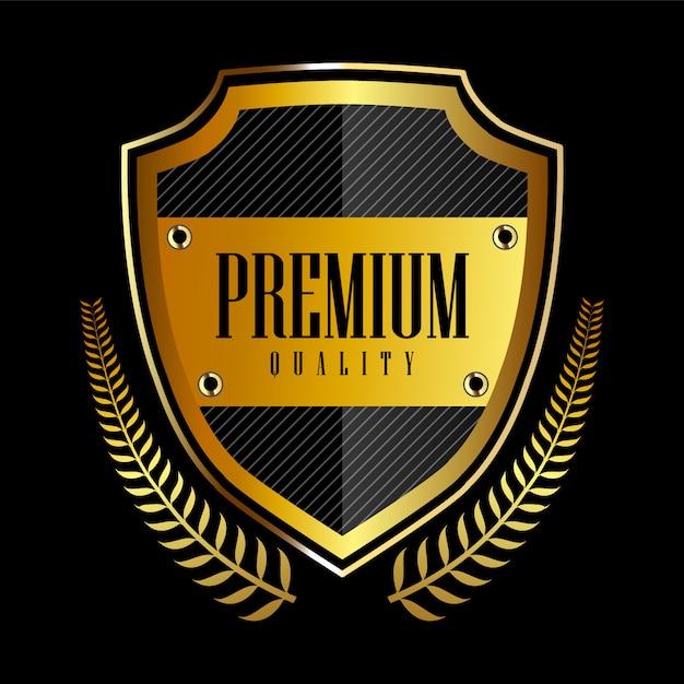 ゴールドバッジとラベルのプレミアム品質をシール Premiumベクター