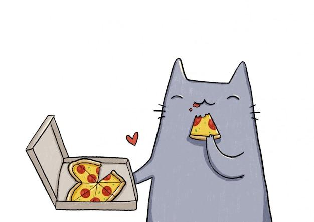 Серый кот ест пиццу Premium векторы